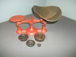 Antique Cast Iron Mercantile Counter Scale W/ Steel Scoop And 4 Weights - I Mgo