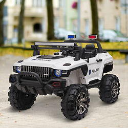 12v Kids Ride On Car Police Truck Rc Remote Control W/led Lights Mp3 White