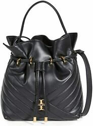 Tory Burch Women#x27;s Kira Chevron Mini Bucket Bag Black One Size $428.00