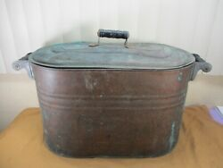 Antique Copper Wash Tub Boiler Basin Container Lid And Wooden Handles Rustic Decor
