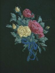 Pair Antique Needlework Chair Or Pillow Tapestries 18 Square