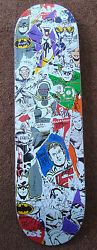 Justice League Skateboard Signed Dc Comics Neal Adams And Len Wein And 40+ Sdcc