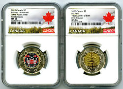 2020 2 Canada Ngc Ms66 Toonie Bill Reid Two Dollar Matched 2-coin Set - Fr