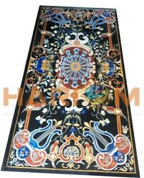 6and039x3and039 Black Marble Top Center Dining Table Precious Pietra Dura Inlay Decor B616