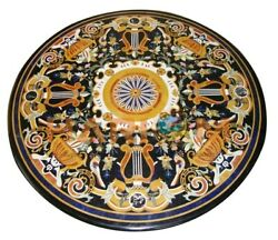 42 Black Marble Dining Table Top Pietra Dura Inlay Occasional Decors Gift B617