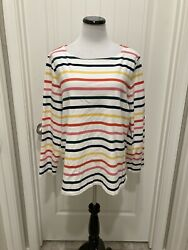 Cute White With Stripes Talbots Plus Top SZ 3X Long Sleeves $11.00