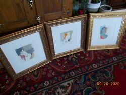 3 Nudes By Itzchak Tarkay Nude I Ii Iii Matted Framed Signed One A.p.
