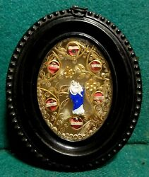 Antiq 19th Tin Frame Wall Multi Reliquary W/ 6 Saints Relics And Virgin Mary 116mm