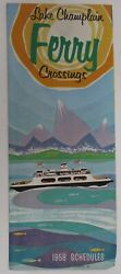 Vintage Lake Champlain Ferry Crossings Schedules Travel Guide Brochure Map Vt Ny