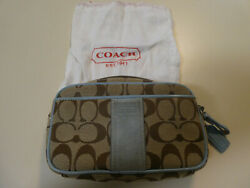 Coach cosmetic makeup bag purse clutch organizer with blue suede trim amp; dust bag $27.00