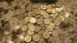 Silver Roosevelt Dimes Before 1965 25 - Coin Half Roll Mixed Unsorted
