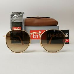 Sunglasses RayBan Round 3447 Gold Frame Brown Lens Spectacular Model $56.69