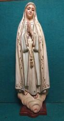 Our Lady Of Fatima Vtg Lg 315mm Chalkware Figure Statue