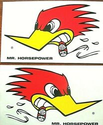 2 Large Mr. Horsepower Clay Smith Car Decals 10 3/4 Long + Mooneyes Sticker