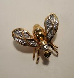 Vintage - Wasp - Hornet - Bee - Diamonds - 14k Yellow Gold - Small Pin Brooch