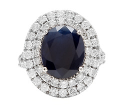 7.90ct Natural Blue Sapphire And Diamond 14k White Solid Gold Ring