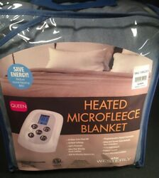 Blue Westerly Microfleece Queen Electric Heated Blanket 2 Controls Auto Off