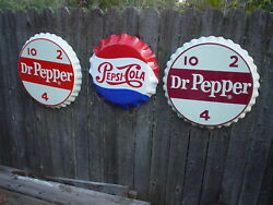 Lot Of 3 X-large 25 Dr Pepper And 22 Pepsi Cola Embossed Metal Bottle Cap Signs