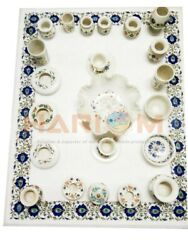 4'x3' White Marble Dining Table Top Lapis Lazuli Inlay Art Furniture Decors W544