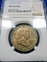 1952 S Franklin Half Dollar Ms 66 Fbl Ngc Pop 6/2 Obv And Rev Pastel Toned Pq+