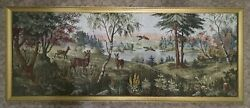Forest With Deer Old Vintage Tapestry Wall Hanging Very Big 180x60 Hand Made