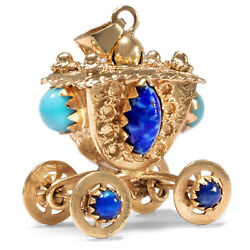 Italy Um 1980 Vintage Pendant Carriage From 750 Gold And Glass Stones Charm