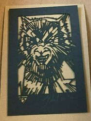 Tyler Stout Laser Cut Wolfman Monster Radiation Burn Signed And Numbered Rare