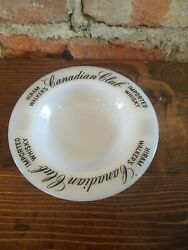 Vtg Milk Glass Ashtray Hiram Walker Canadian Club Imported Whisky Made In Usa