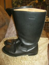 Vintage Mens 12 D Black Leather Equestrian boots with built in horseshoe taps $49.99