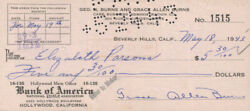 Gracie Allen - Check Signed And Endorsed 05/18/1943 With Co-signers