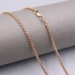 Pure 18k Rose Gold 2mm Round Box Link Chain Necklace 50cm 20inch Au750