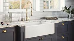 30x20 White Fireclay Farmhouse Apron Sink- Rectangular