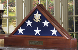 American Flag Case With Pedestal Burial Memorial Flag Display Case Shadow Box