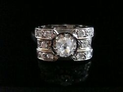 French Antique Art Deco 18ct White Gold Old Cut Diamond 0.80ct Pave Ring