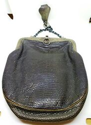 And Co Victorian Chatelaine Sterling Silver And Leather Purse Bag - Lizard