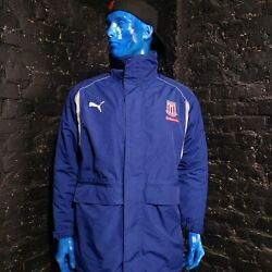 Stoke City The Potters Mens Winter Jacket With Zipper Hooded Blue Size M