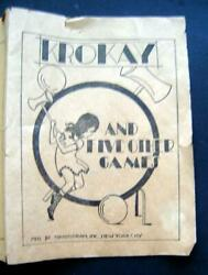 Vintage Krokay And 5 Other Games Transogram 1937 Instructions Booklet