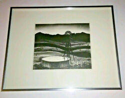 Peter Hurd Lithograph Water Stock Tank At Dusk Windmill Print Dominquez Well
