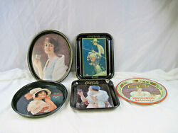 5 Vintage Collectable Metal Coca Cola Serving Trays 1900 -1935 Reproductions