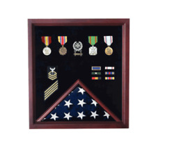 Retirement Flag And Badge Military Display Case Shadow Box