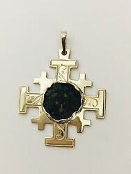 Jerusalem Cross 14k Yellow Gold Pendant With Widows Mite Coin -8.60gms
