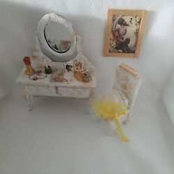 Miniature Dollhouse Furniture Lot Victorian Vanity Chair Accessories Jewelry Hat