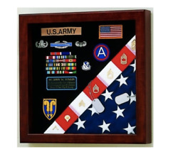 American Made Casket Flag And Badge Medals Military Display Case Shadow Box