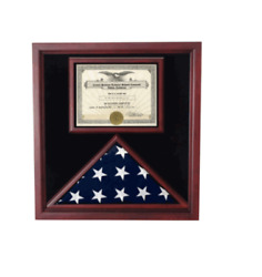 Extra Large Award And Flag Military Display Case Shadow Box