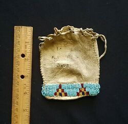 Native American Indian, Beaded 19th Century Pouch