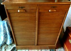 Antique Oak Side-by-side File Cabinet W 2 Locking Roll Up Tambour Doors Crusader