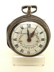 Late 18th Century Verge Fusee Silver Pair Cased Pocket Watch By Jean Piot Geneve