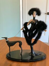 "Franklin Mint house of Erte ""Symphony in Black"" Figurine.  Lady in Black w Dog"