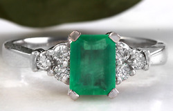 2.35ct Natural Emerald And Diamond 14k Solid White Gold Ring