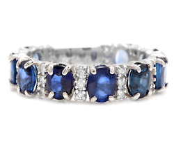 4.90ct Natural Blue Sapphire And Natural Diamond 14k Solid White Gold Ring